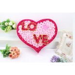 Hoa Xà Phòng Hộp Tim Chữ Love Có Đèn Led (Hồng)