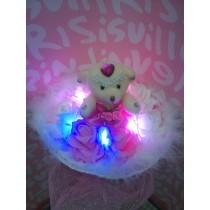 Hoa Gấu Bông 1 Gấu Ôm Bông Đèn Led